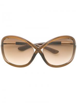 Солнцезащитные очки с массивной оправой Tom Ford Eyewear. Цвет: коричневый