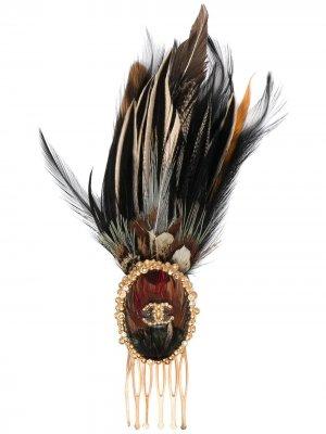 Гребень для волос Edinburgh с логотипом CC Chanel Pre-Owned. Цвет: золотистый