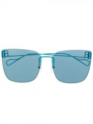 Солнцезащитные очки в оправе кошачий глаз с логотипом BB Balenciaga Eyewear. Цвет: синий