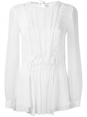 Прозрачная блузка с оборками Alberta Ferretti. Цвет: белый