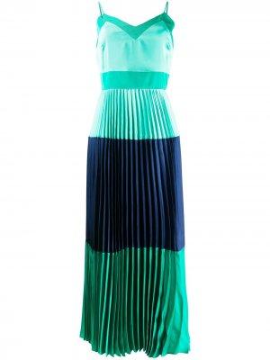 Плиссированное платье в стиле колор-блок TWINSET. Цвет: зеленый