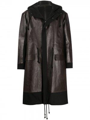 Пальто средней длины со вставками Undercover. Цвет: коричневый