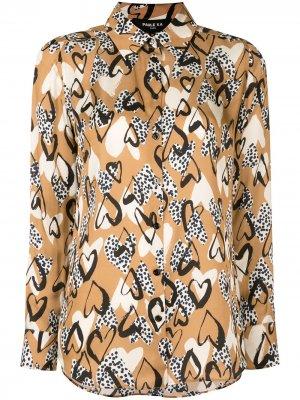 Блузка с принтом Paule Ka. Цвет: коричневый