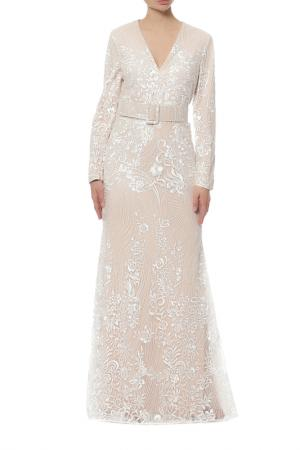 Платье Badgley Mischka. Цвет: бежевый