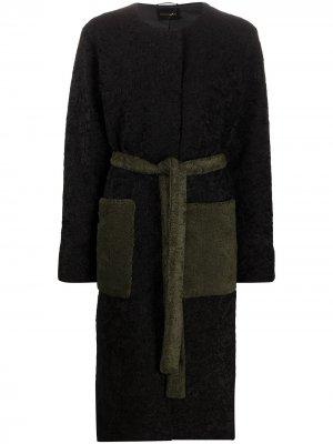 Пальто с поясом и длинными рукавами Stine Goya. Цвет: черный