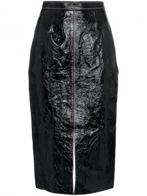 Приталенная кожаная юбка с высокой талией Birch Roland Mouret. Цвет: черный