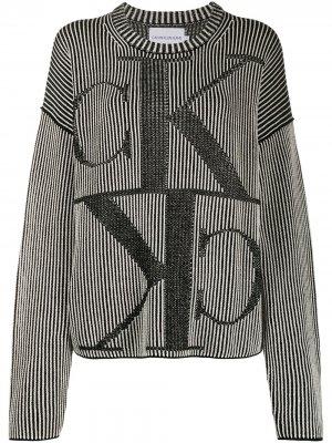 Джемпер в рубчик с монограммой вязки интарсия Calvin Klein Jeans. Цвет: черный