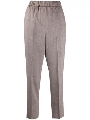 Укороченные зауженные брюки Peserico. Цвет: коричневый