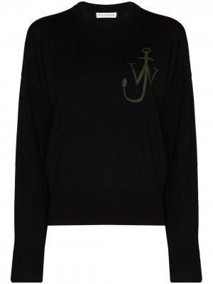 Жаккардовый джемпер с логотипом Anchor JW Anderson. Цвет: черный