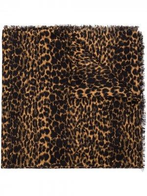 Шаль с леопардовым принтом Saint Laurent. Цвет: черный