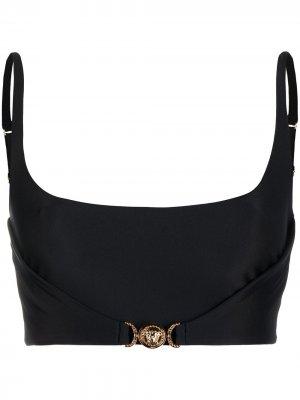 Укороченный топ-бюстье Versace. Цвет: черный