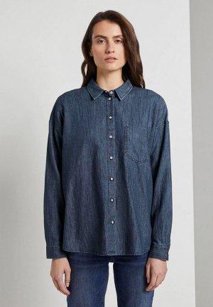 Рубашка джинсовая Tom Tailor. Цвет: синий