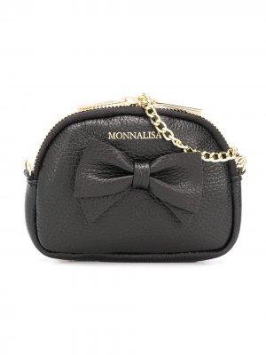 Мини-сумка с бантом Monnalisa. Цвет: черный