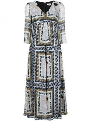 Платье с V-образным вырезом Suno. Цвет: разноцветный
