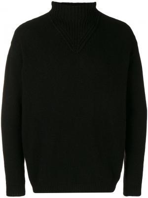 Приталенный свитер с высоким воротником Daniele Alessandrini. Цвет: черный