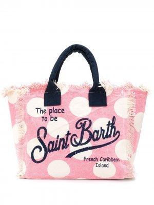 Пляжная сумка в горох с логотипом Mc2 Saint Barth. Цвет: розовый
