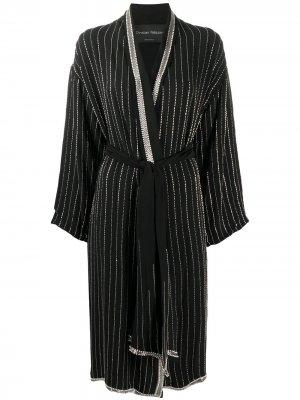 Длинный халат в полоску Christian Pellizzari. Цвет: черный