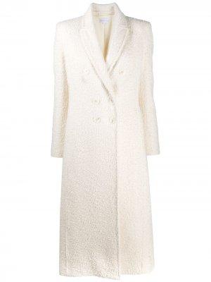 Приталенное двубортное пальто Patrizia Pepe. Цвет: белый