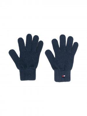 Перчатки с вышитым логотипом Tommy Hilfiger Junior. Цвет: синий