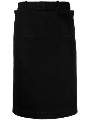 Джинсовая юбка прямого кроя Lemaire. Цвет: черный