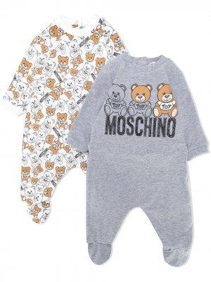 Комплект из двух комбинезонов с логотипом Moschino Kids. Цвет: белый