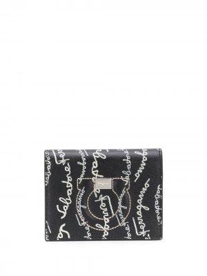 Бумажник с принтом Salvatore Ferragamo. Цвет: черный
