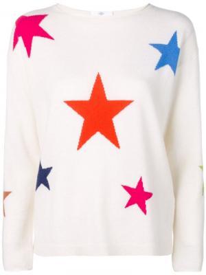 Свитер со звездами вязки интарсия Allude. Цвет: белый