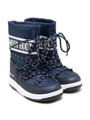 Зимние сапоги Mid Waterproof Nylon Moon Boot Kids. Цвет: синий
