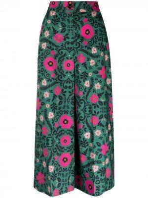 Укороченные брюки с цветочным принтом La Doublej. Цвет: зеленый