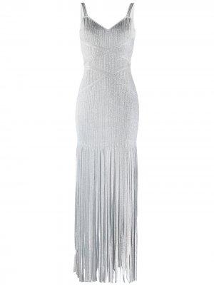 Длинное облегающее платье с бахромой Hervé Léger. Цвет: серый