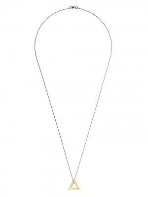 Серебряная цепочка на шею с подвеской из желтого золота Le Gramme. Цвет: серебристый