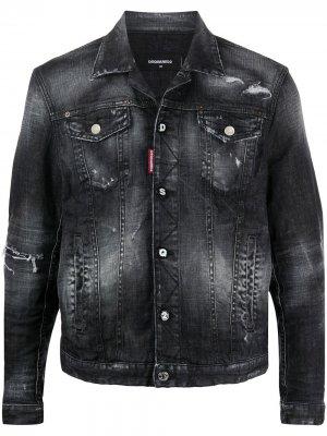 Джинсовая куртка с прорезями Dsquared2. Цвет: черный