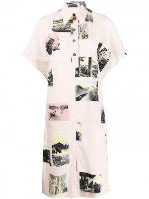 Платье-рубашка с принтом Cédric Charlier. Цвет: розовый