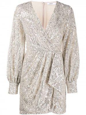 Коктейльное платье с запахом и пайетками Amen. Цвет: серебристый