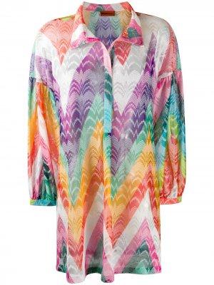 Платье-рубашка с принтом зигзаг Missoni Mare. Цвет: оранжевый