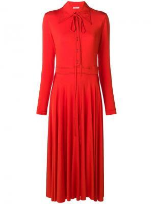 Платье с заостренным воротником Nina Ricci. Цвет: красный