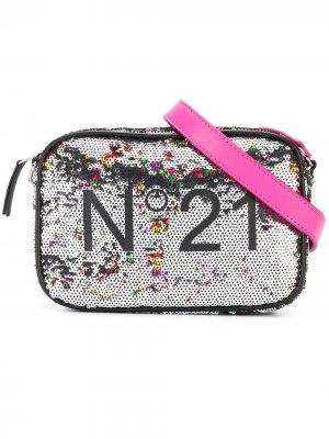 Сумка на плечо с логотипом и пайетками Nº21 Kids. Цвет: серебристый