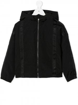 Куртка на молнии с капюшоном и логотипом Emporio Armani Kids. Цвет: черный