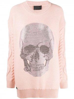 Вязаное платье мини с декором Skull Philipp Plein. Цвет: розовый