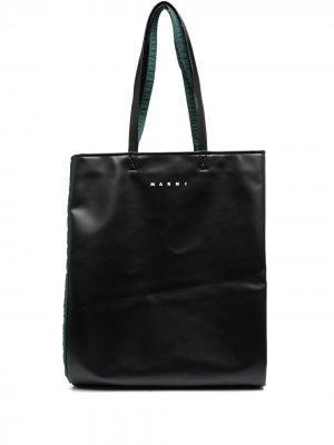 Складная сумка-тоут с логотипом Marni. Цвет: черный
