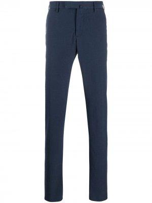 Креповые брюки кроя слим Incotex. Цвет: синий
