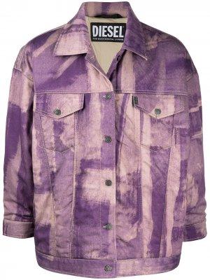 Джинсовая куртка с выбеленным эффектом Diesel. Цвет: фиолетовый