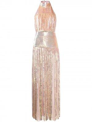 Платье макси с вырезом халтер и пайетками Temperley London. Цвет: розовый