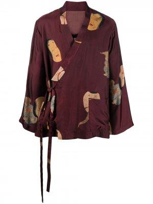 Жакет-кимоно с принтом Uma Wang. Цвет: красный