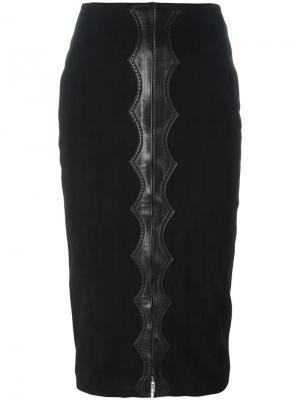 Юбка с бархатным эффектом и завышенной талией Alaïa Vintage. Цвет: черный