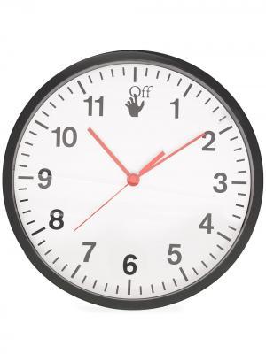 Настенные часы с логотипом Off-White. Цвет: черный