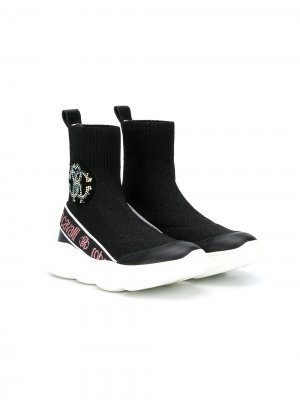 Кроссовки-носки с логотипом из страз Roberto Cavalli Junior. Цвет: черный