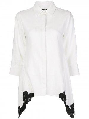 Рубашка с кружевом и заостренным воротником Natori. Цвет: белый