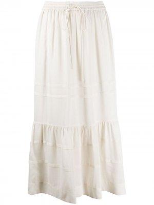 Ярусная юбка миди в полоску Coach. Цвет: нейтральные цвета