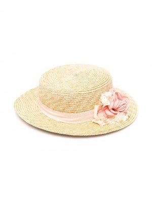 Соломенная шляпа с аппликацией Abel & Lula. Цвет: нейтральные цвета